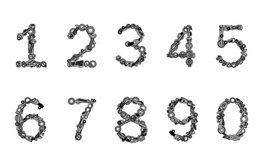 Hand tools numbers. Vector illustration