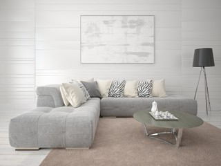 Mock up the living room with a fashionable comfortable sofa on a light background.
