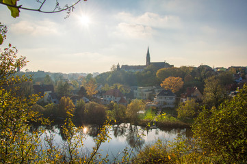 Idyllic view  of Halle (Saale), Germany on a sunny day in Autumn