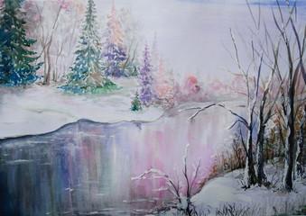 The art. Winter oil paintings landscape, watercolor, fine art