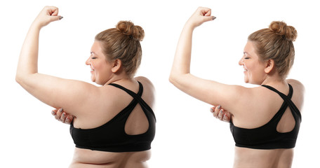 Young woman before and after weight loss on white background. Health care and diet concept Fotobehang