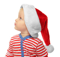 Cute little baby in Santa hat, isolated on white