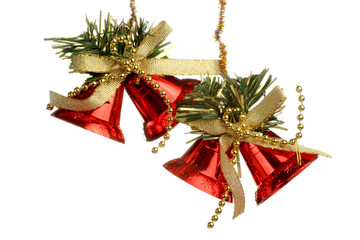 Red Christmas Tree Ornament, bells, decorations. Isolated white background.