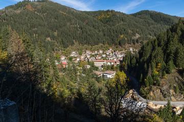 Panoramic view of town of Shiroka Laka and Rhodope Mountains, Smolyan Region, Bulgaria
