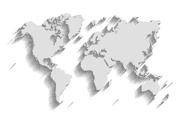 world map vector. color background with shadow