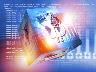 Bitcoin sign digital currency, futuristic digital money, blockchain technology concept