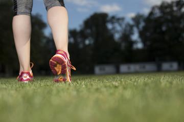 Woman fitness, Runner feet running