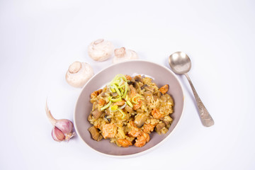Risotto with mushrooms and chicken decorated with leek on a white background with some mushroom and garlic