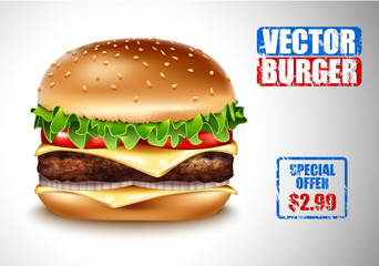 Vector Realistic Hamburger. Classic Burger American Cheeseburger with Lettuce Tomato Onion Cheese Beef on white Background. Fast Food menu price advertising. Beef meat and fresh organic vegetables.