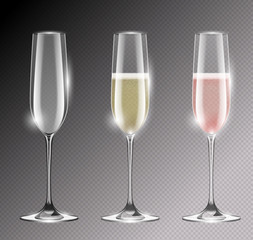 Transparent champagne glass flute vector illustration. Realistic set of glasses with sparkling white and rose wine and empty glass. Empty goblet with highlights