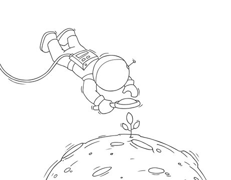 Sketch of astronaut with loupe.