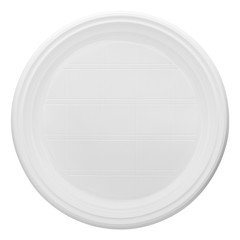 Disposable white plastic plate, clipping path, isolated on white background