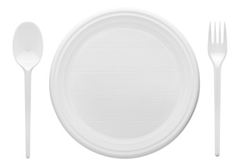 Disposable white plastic plate, spoon, fork, clipping path, isolated on white background Wall mural