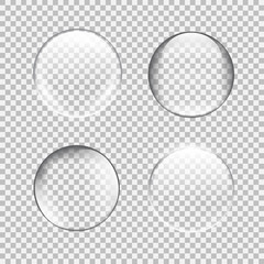 Transparent glass sphere set with glares and highlights.