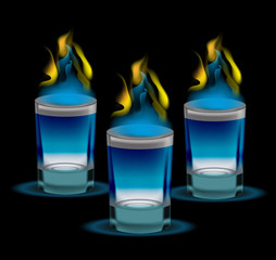 Realistic shot of cocktail with fire. 3d glass, for the restaurans, bars collection. Isolated on a black background. Vector illustration