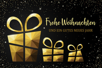 Frohe Weihnachten Karte mit Polygon Geschenk gold
