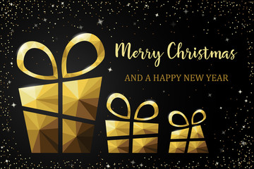 Wall Mural - Merry christmas card with polygon gift