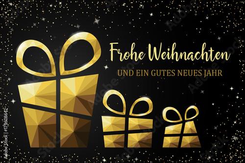 Frohe Weihnachten Karte mit Polygon Geschenk gold\