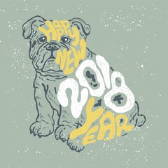 Year of the Dog 2018. Happy new Year. Hand drawn vintage vector.