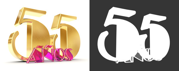 Number fifty five years (55 years) celebration design. Anniversary golden number template elements for your birthday party. Translated from Spanish - Years. 3D illustration