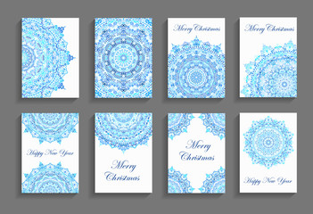 Happy New Year Cards Flourish Mandala Design