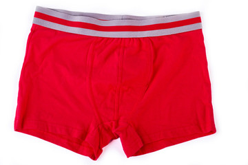 Man red underwear on white background. Male red briefs isolated on white background.