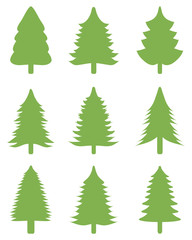 Set of green Christmas trees on a white background