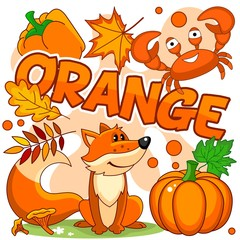 A set of cartoon orange pictures for children, featuring a fox, crab, pumpkin, leaves, mushrooms and peppers on an orange background.