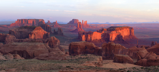 Wall Mural - Sunrise in Hunts Mesa navajo tribal majesty place near Monument Valley, Arizona, USA