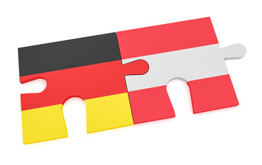Germany Austria Partnership Concept: German Flag And Austrian Flag Puzzle Pieces, 3d illustration isolated on white background.