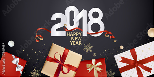 vector illustration of new year 2018 greeting card design template for greeting card web