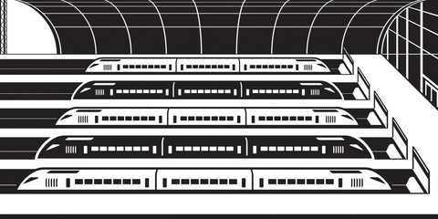 High speed trains at railway station - vector illustration