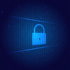 The lock protects the cyber network on a digital background. Vector illustration .
