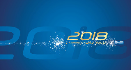 Happy New Year 2018 champagne firework blue abstract background