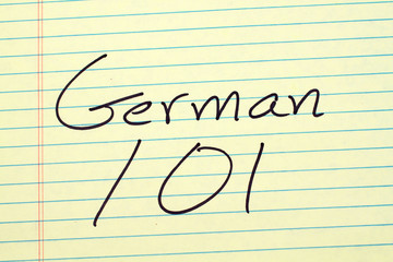 """The words """"German 101"""" on a yellow legal pad"""