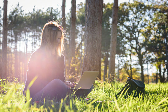 woman sitting in forest with laptop enjoying late afternoon sun and some quiet time