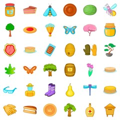 Pancake icons set, cartoon style