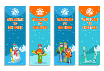 Mountain skier winter sport flyer design template. Snowboarding and skiing on flyers. Vector illustration.
