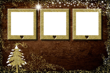 Christmas 3 empty photo frames card