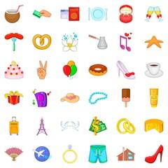 Honeymoon icons set, cartoon style