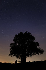 Silhouette of a man sitting and thinking under the tree at starry night