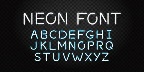 Vector realistic isolated neon font letters for decoration and covering on the transparent background.