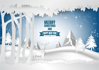 Winter season with snowflake, Vector illustration of Merry Christmas, Paper art
