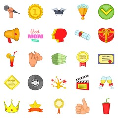 Cash consideration icons set, cartoon style