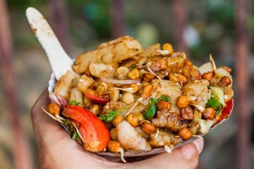 Aloo Chana Chaat - street food in Kolkata, India