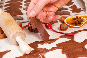 Accessories, ingredients and dough for baking and preparation Christmas cookies or gingerbread