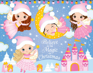 Vector Set with Cute Little Christmas Fairies, Castle and Winter Elements
