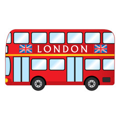 Vector London Red Bus. Vector Red Double Decker