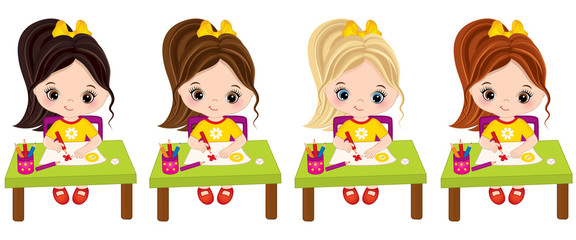 Vector Little Girls Draw. Vector Little Artists