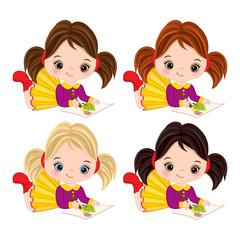 Vector Little Girls Paint. Vector Little Artists